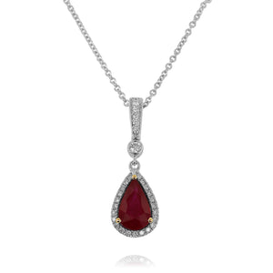 Pear-Shaped Ruby and Diamond Necklace by Yael