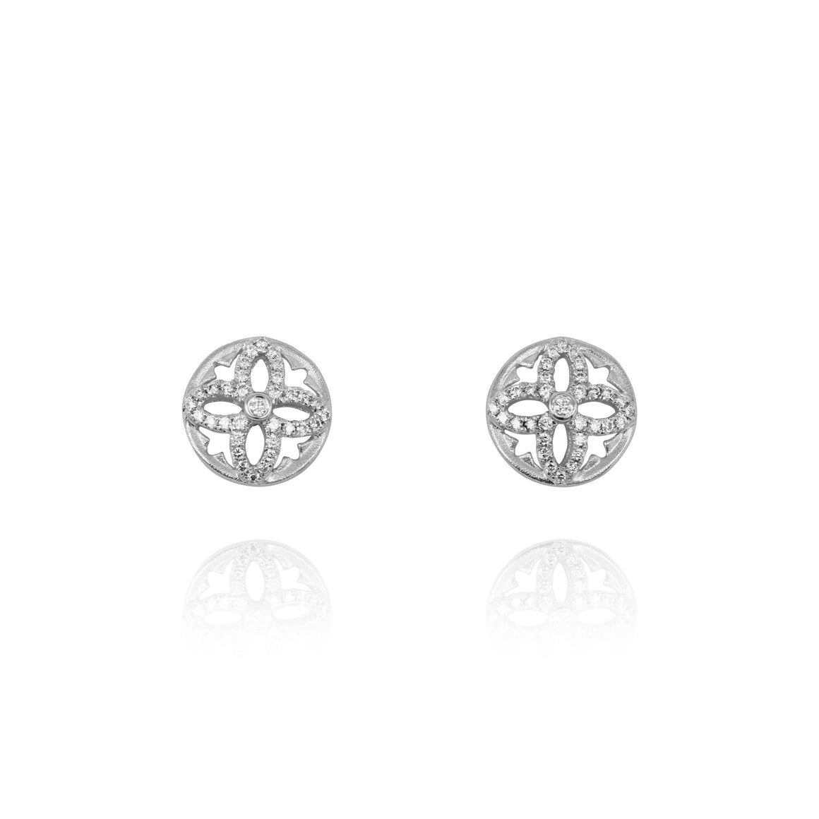 Yael 14k White Gold Diamond Flower Stud Earrings