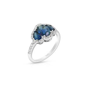 Blue Sapphire and Diamond Half Moon Ring by Yael