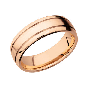 14k Gold Double Groove Men's Band - Talisman Collection Fine Jewelers