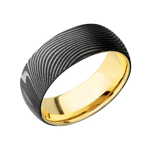 Damascus and 14k Gold Flattwist Men's Band