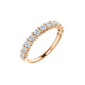 Round Diamond Anniversary Stack Band in White, Yellow or Rose Gold