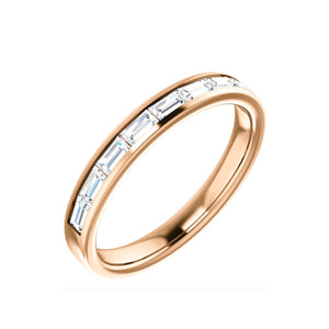 Channel Set Diamond Baguette Stack Band in White, Yellow or Rose Gold - Talisman Collection Fine Jewelers