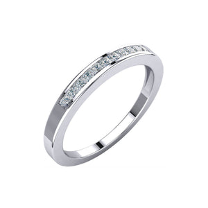 Channel Set, Princess-Cut Diamond Anniversary Stack Band in White, Yellow or Rose Gold