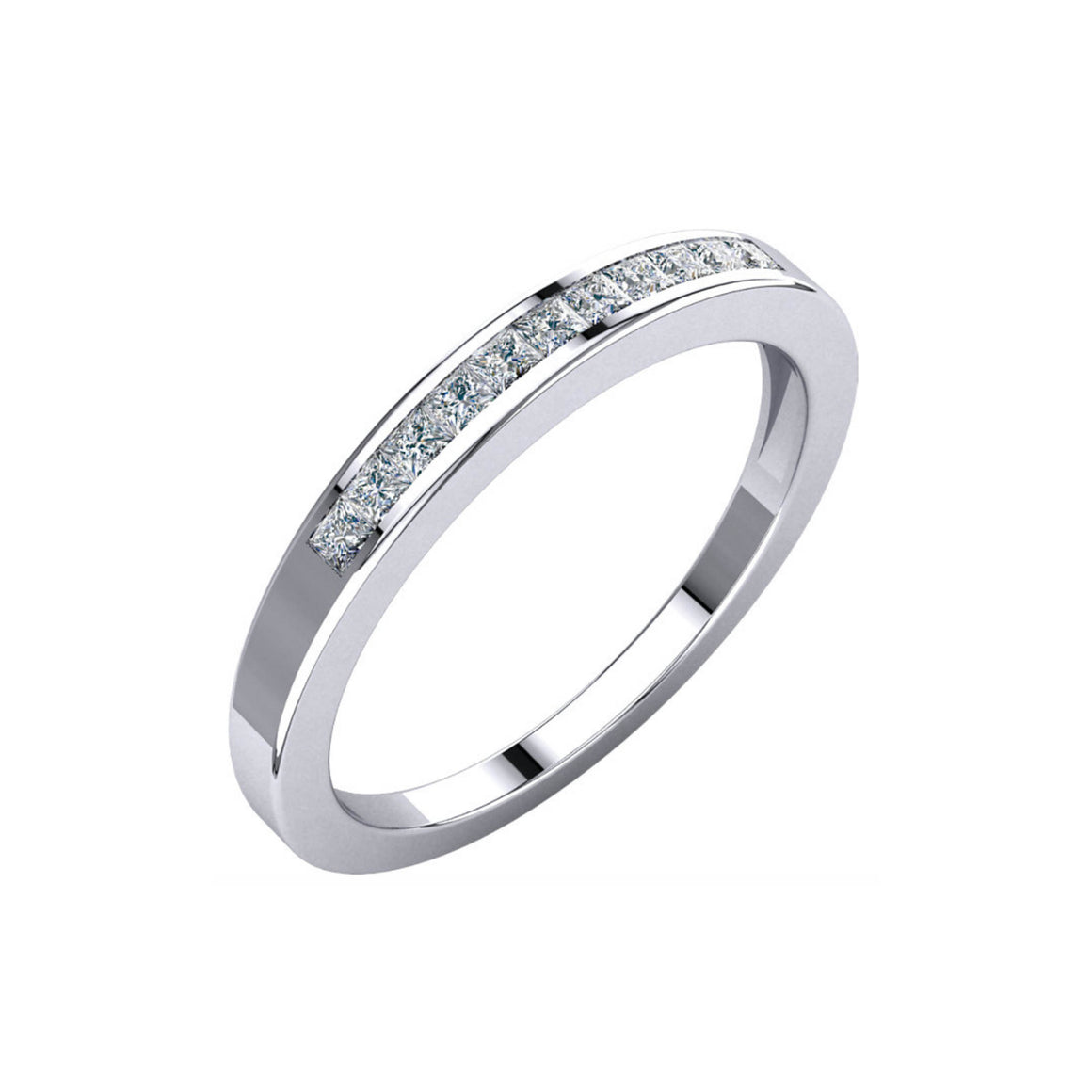 Channel Set, Princess-Cut Diamond Anniversary Stack Band in White, Yellow or Rose Gold - Talisman Collection Fine Jewelers