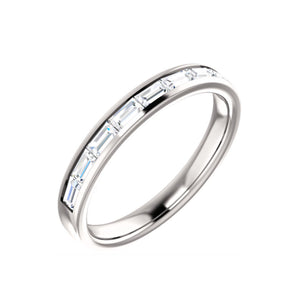 14k Gold Channel Set Diamond Baguette Anniversary Band - Talisman Collection Fine Jewelers