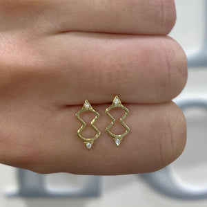 Diamond Figure Eight Stud Earrings by Meredith Young