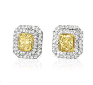 Yellow and White Diamond Double Halo Stud Earrings by Yael