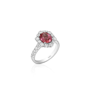 Pink Sapphire and Diamond Halo Ring by Yael