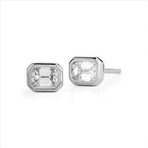 Diamond Stud Earrings, White Gold Bezel Set Emerald Cut - Talisman Collection Fine Jewelers
