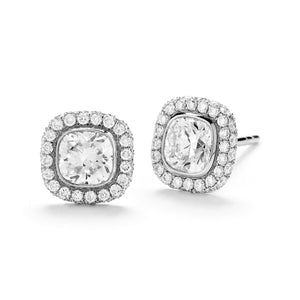 18k White Gold Cushion-Cut Diamond Halo Stud Earrings - Talisman Collection