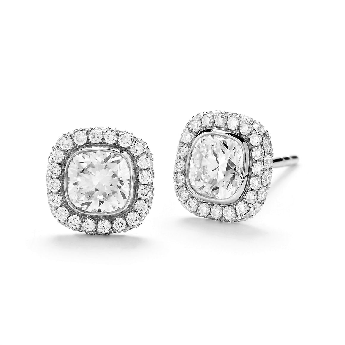18k White Gold Cushion-Cut Diamond Halo Stud Earrings
