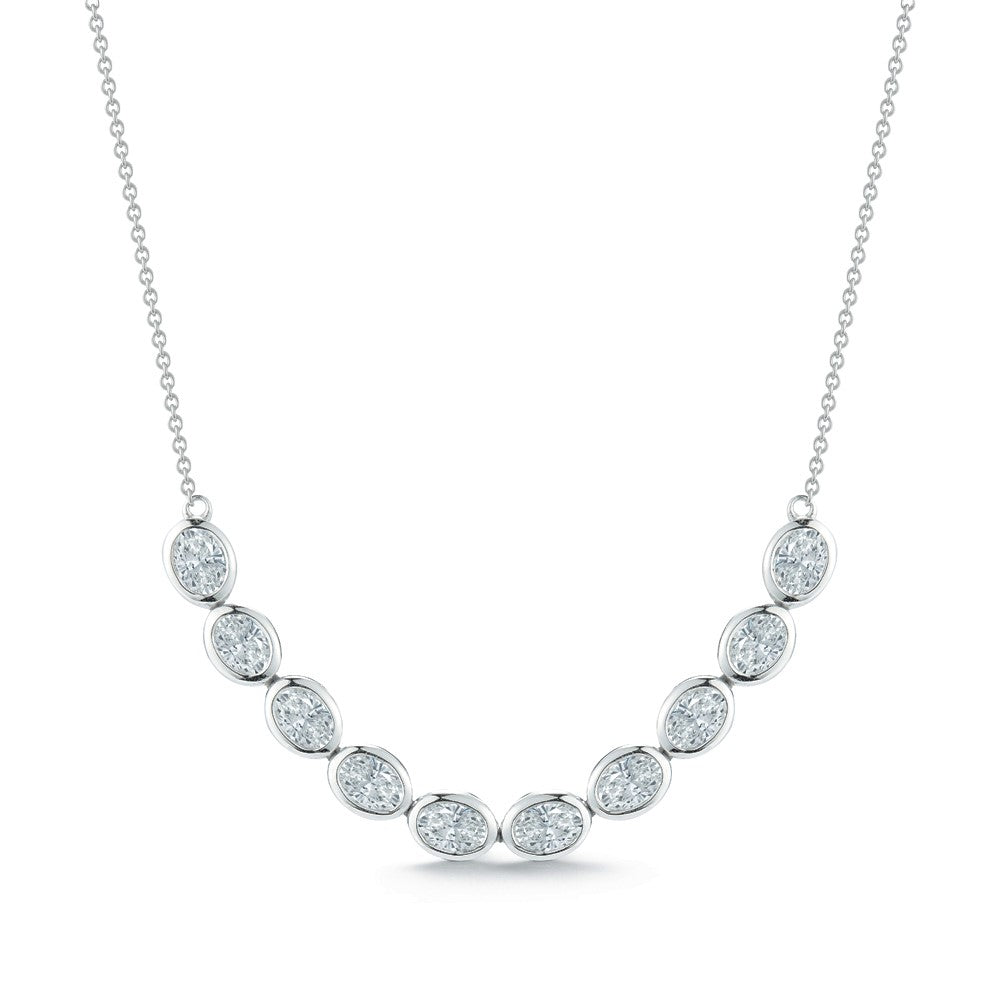 Diamond Smile Necklace, White Gold Bezel Set Oval - Talisman Collection Fine Jewelers