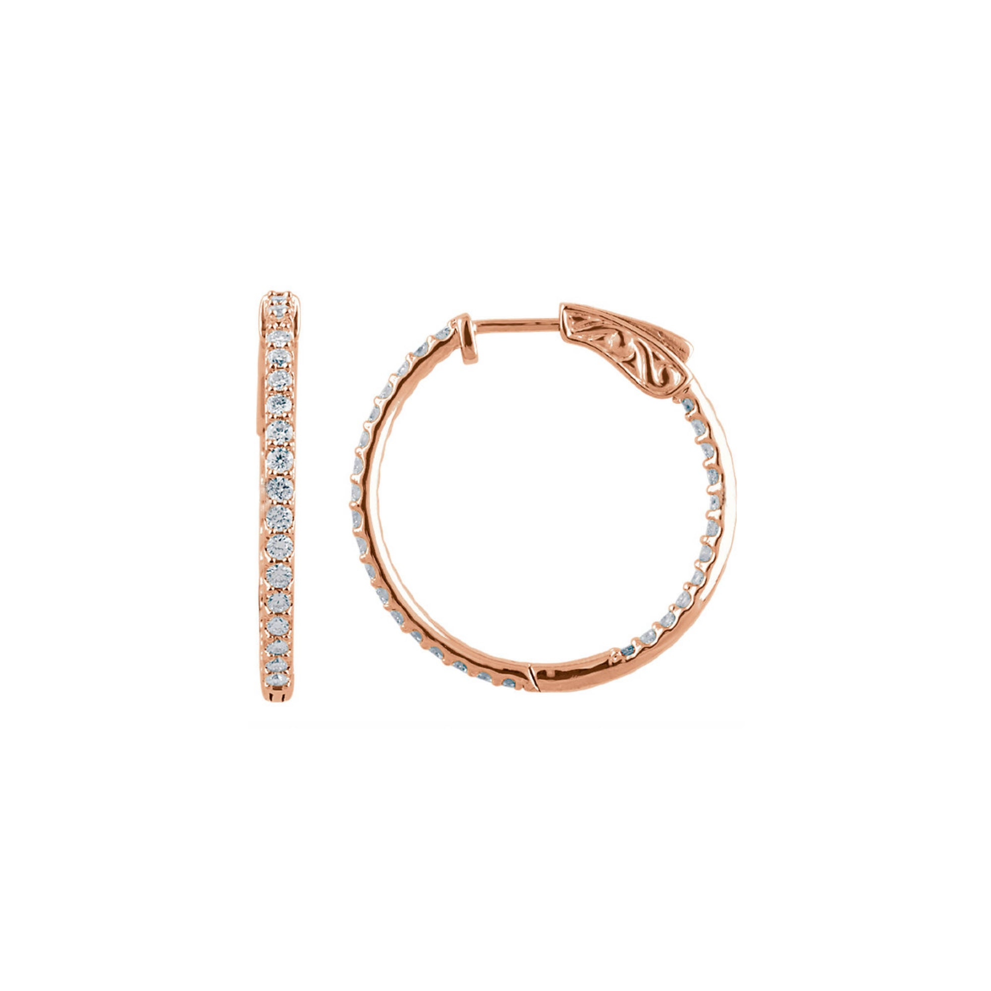 Diamond Earring Hoops, 3.00 Carat Total Weight in 14k White, Yellow or Rose Gold - Talisman Collection Fine Jewelers