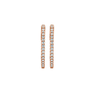 Diamond Earring Hoops, 1.00 Carat Total Weight in 14k White, Yellow or Rose Gold - Talisman Collection Fine Jewelers