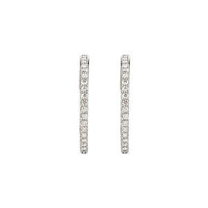 14k Gold 1 Carat Diamond Inside/Outside Hoop Earrings - Talisman Collection Fine Jewelers