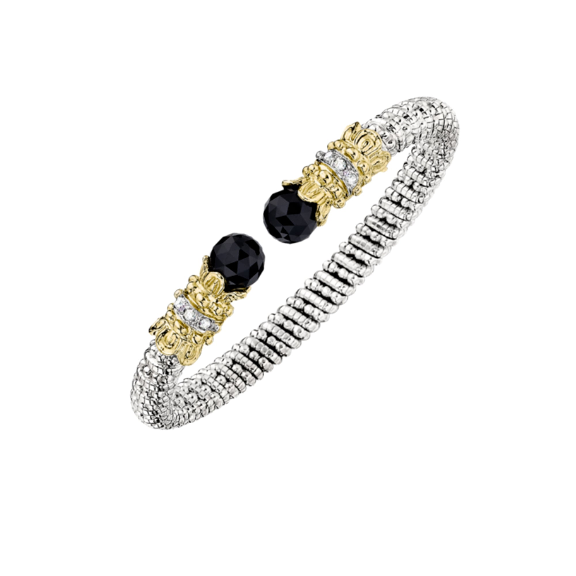 Black Onyx and Diamond Open Cuff Bracelet by Vahan - Talisman Collection Fine Jewelers
