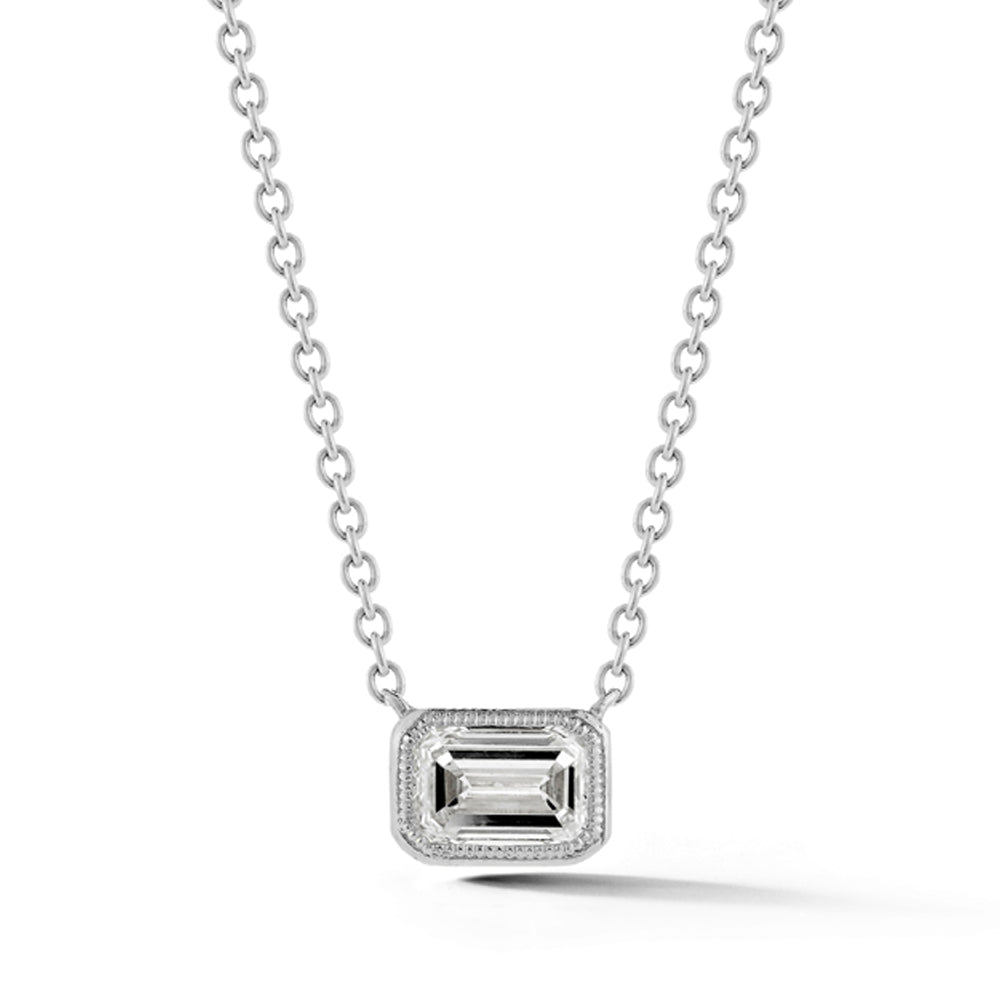 Diamond Necklace, White Gold Bezel Set Emerald Cut - Talisman Collection Fine Jewelers
