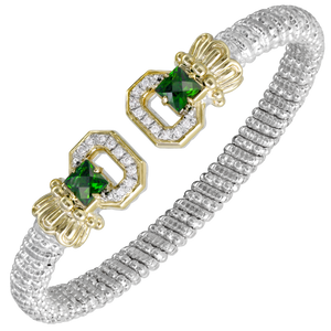 Chrome Diopside and Diamond Open Cuff Bracelet by Vahan - Talisman Collection Fine Jewelers