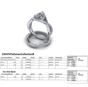 Custom Platinum Diamond Semi Mount and Shadow Band - Talisman Collection Fine Jewelers