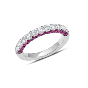 Ruby and Diamond 3 Sided Half Band by Graziela - Talisman Collection Fine Jewelers