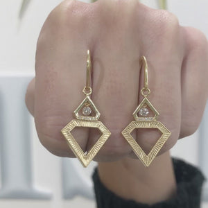 Floating Diamond Shield Earrings by Meredith Young