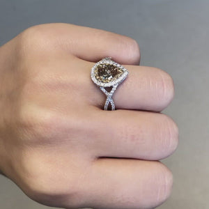 Champagne and White Diamond Pear-Shaped Ring
