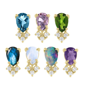 Pear Gemstone and Diamond Trio Studs by Eden Presley - Talisman Collection Fine Jewelers