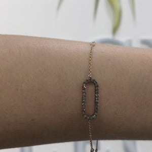 Champagne Diamond Ellipse Bracelet in 14k Rose Gold