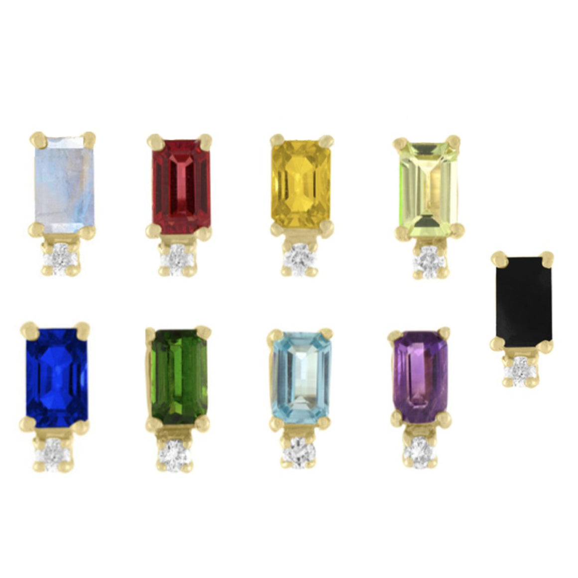 Rectangle Gemstone and Diamond Studs by Eden Presley - Talisman Collection Fine Jewelers
