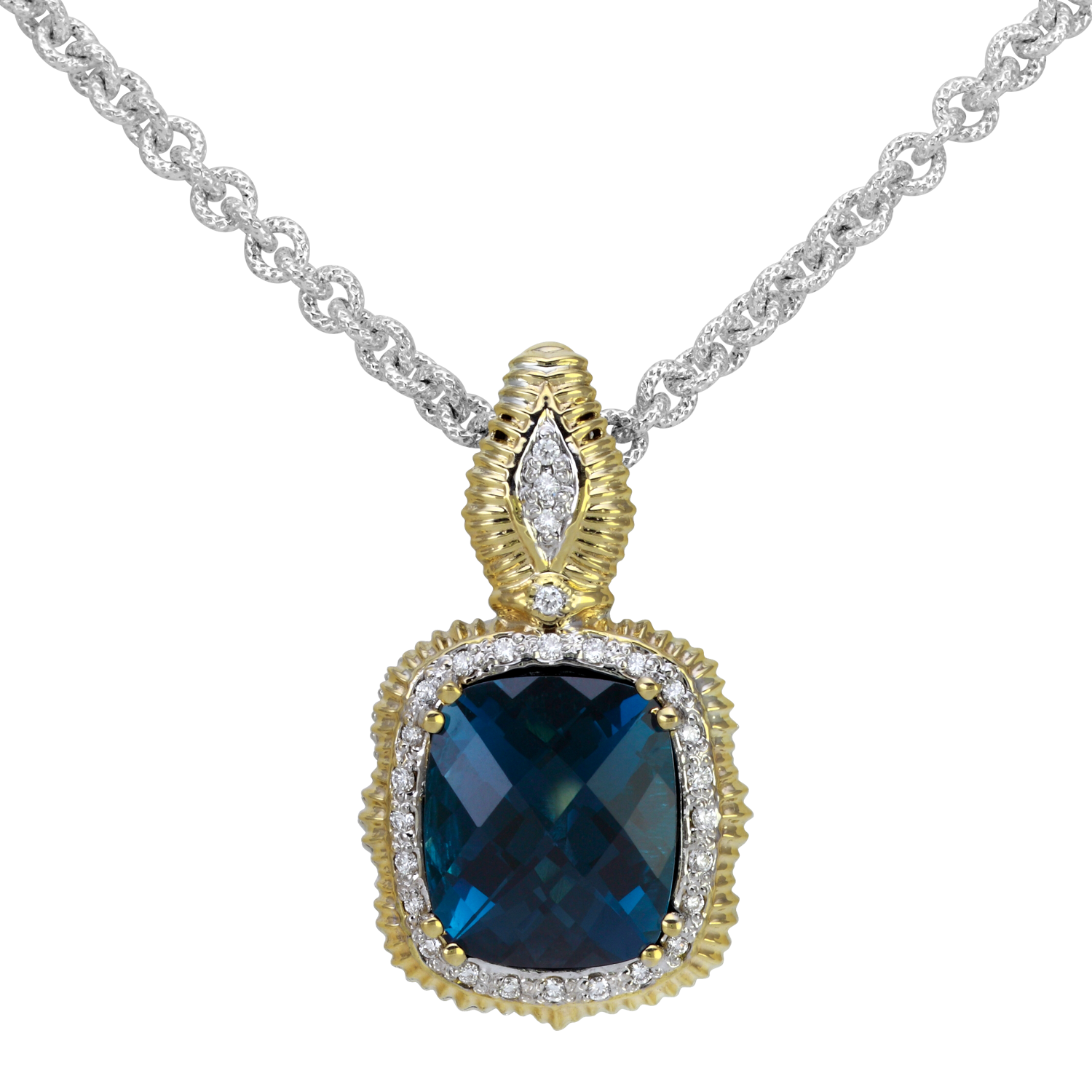 London Blue Topaz and Diamond Pendant by Vahan - Talisman Collection Fine Jewelers