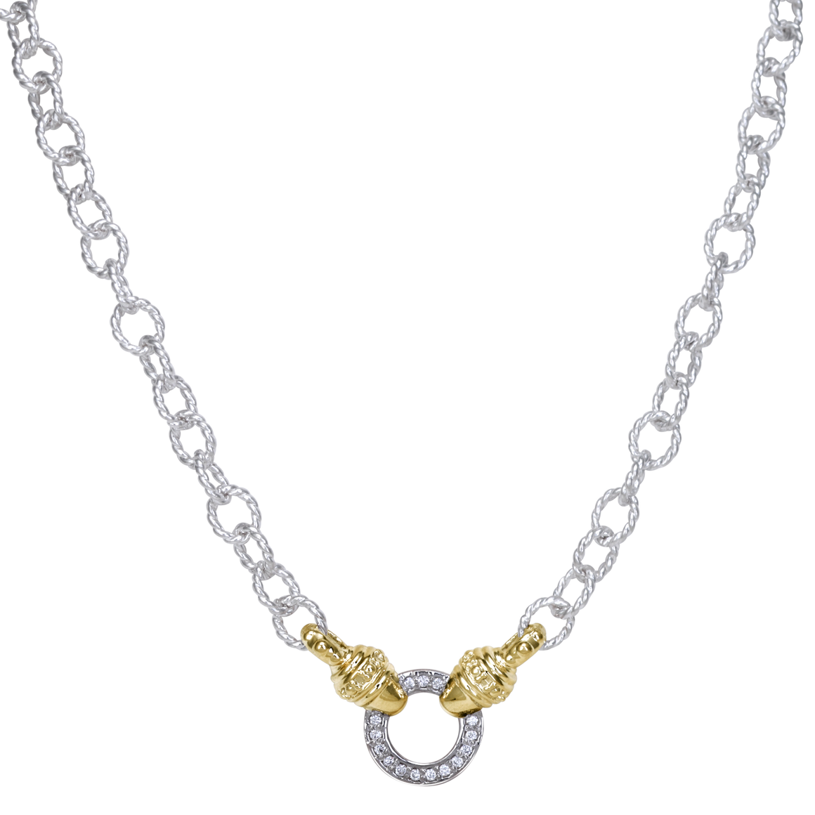 Diamond Accented Sterling Silver and 14k Gold Chain by Vahan - Talisman Collection Fine Jewelers
