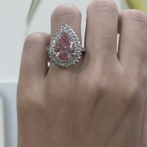 Pink Diamond Pear-Shaped Ring