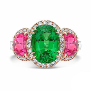 Tsavorite and Spinel, Platinum and 18k Rose Gold Ring