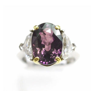 Alexandrite and Diamond, Platinum and 20k Yellow Gold Ring