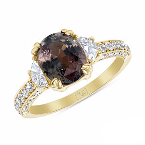 Alexandrite and Diamond, 18k Yellow Gold Ring