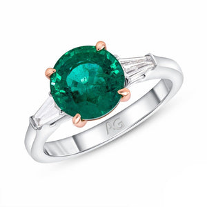 Emerald and Diamond, Platinum and 18k Rose Gold Ring