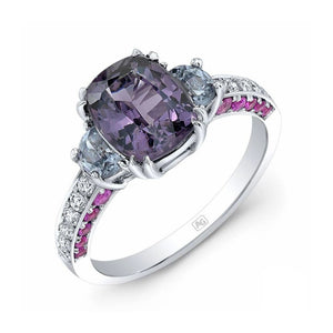 Purple Spinel and Pink Ceylon Sapphire, 18k White Gold Ring