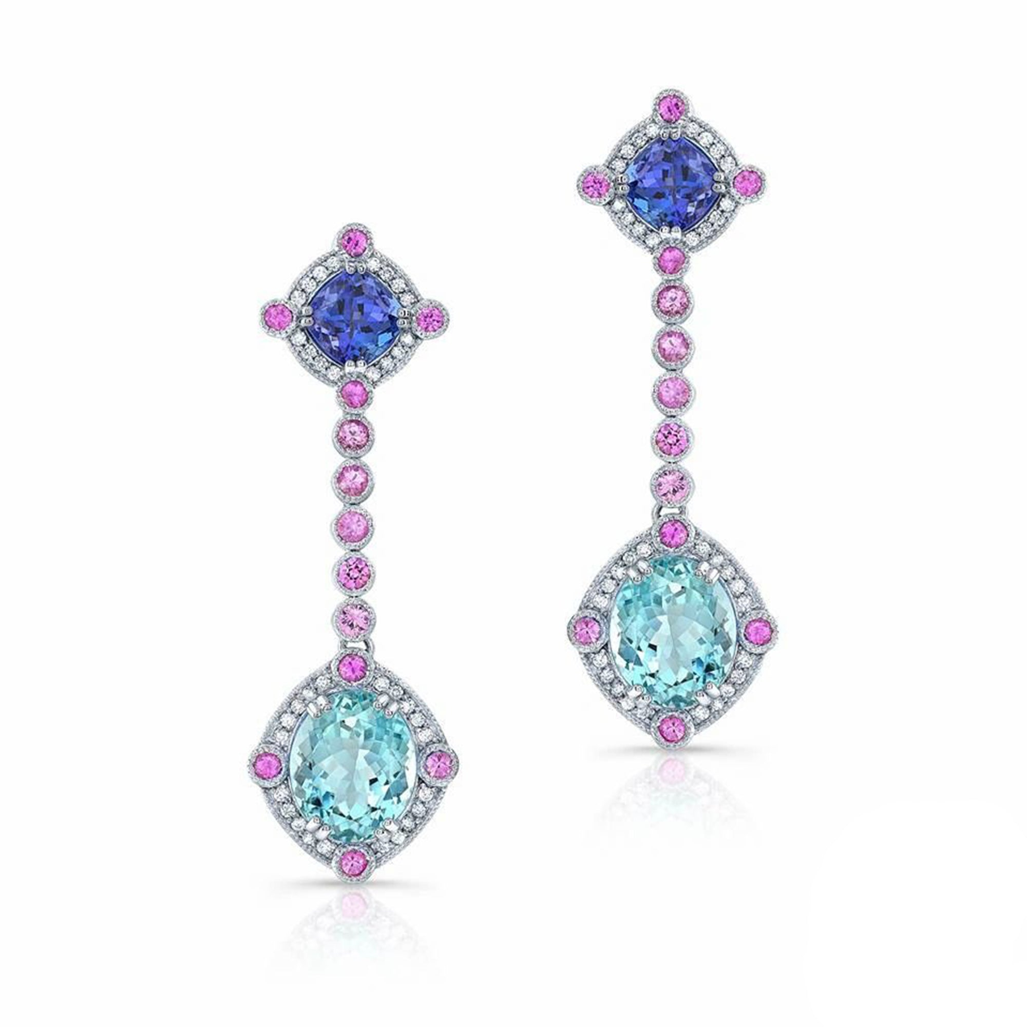Aquamarine, Tanzanite and Pink Sapphire, 18k White Gold Earrings - Talisman Collection Fine Jewelers