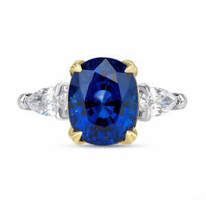 Blue Sapphire, Platinum and 18k Yellow Gold Ring - Talisman Collection Fine Jewelers