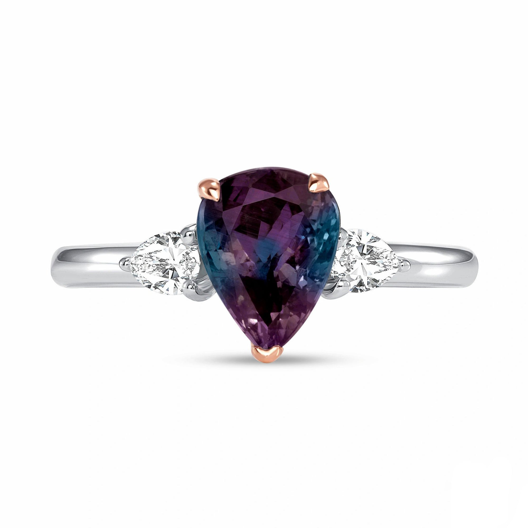 Alexandrite and Diamond, Platinum and 18k Rose Gold Ring - Talisman Collection Fine Jewelers