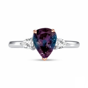 Alexandrite and Diamond, Platinum and 18k Rose Gold Ring
