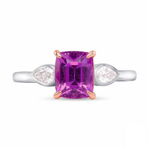 Pink Sapphire and Diamond, 18k White and Rose Gold Ring