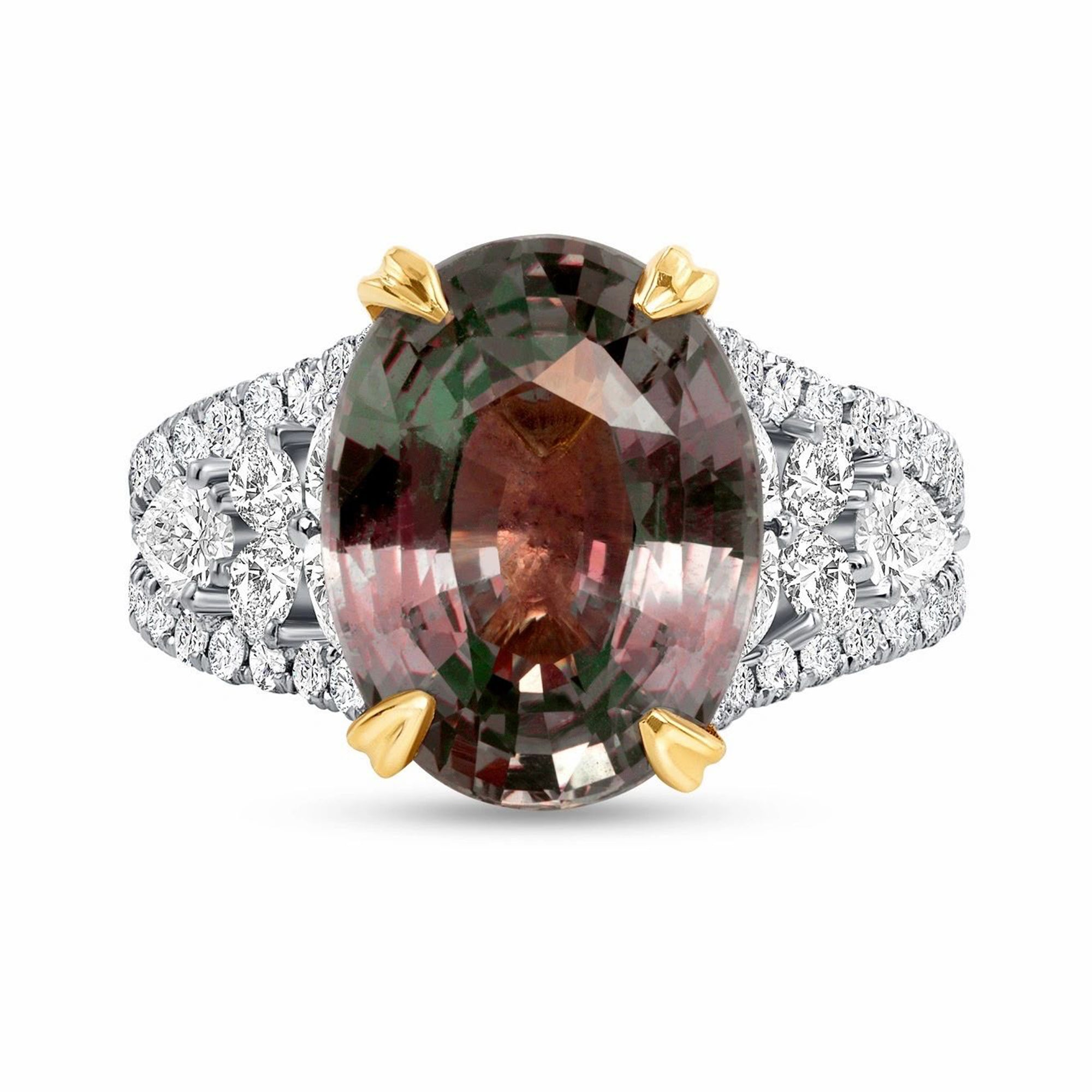 Alexandrite and Diamond, Platinum and 18k Yellow Gold Ring - Talisman Collection Fine Jewelers