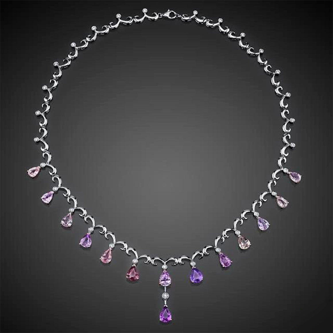 Ceylon Sapphire and Diamond, 18k White and Rose Gold Necklace