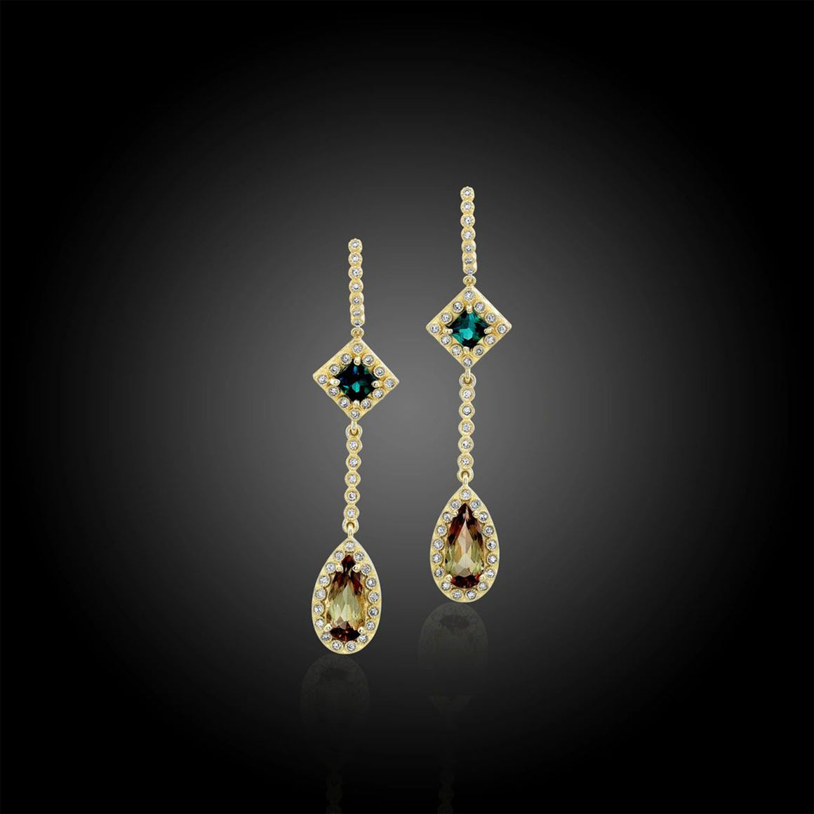 Andalusite, Indicolite and Diamond, 18k Yellow Gold Earrings