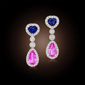 Pink Sapphire, Blue Sapphire and Diamond, 18k White Gold Earrings