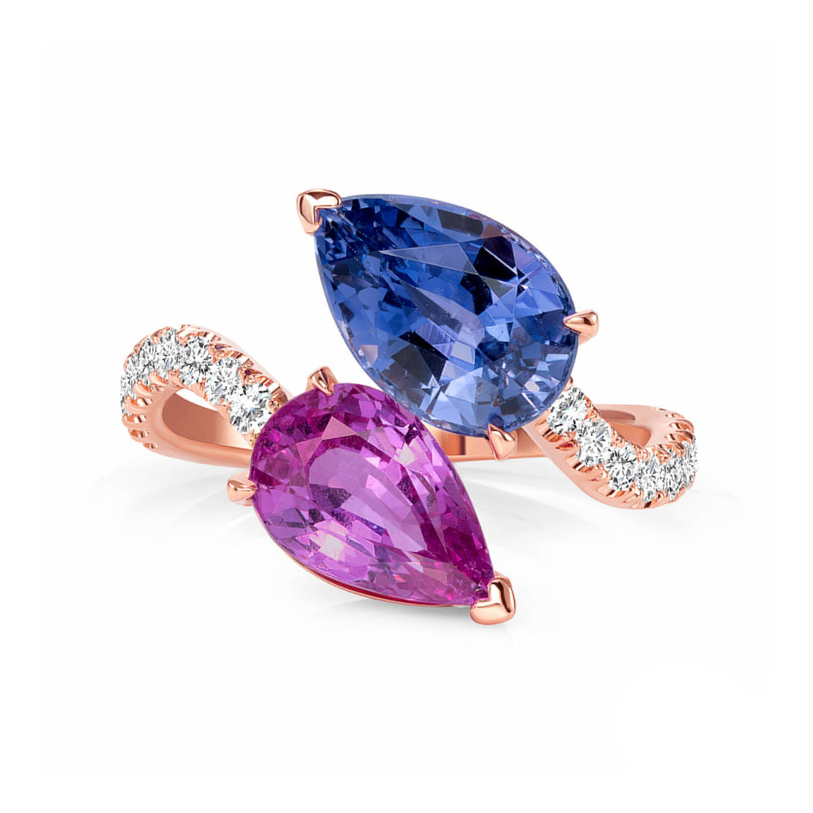 Blue Sapphire, Pink Sapphire and Diamond, 18k Rose Gold Ring