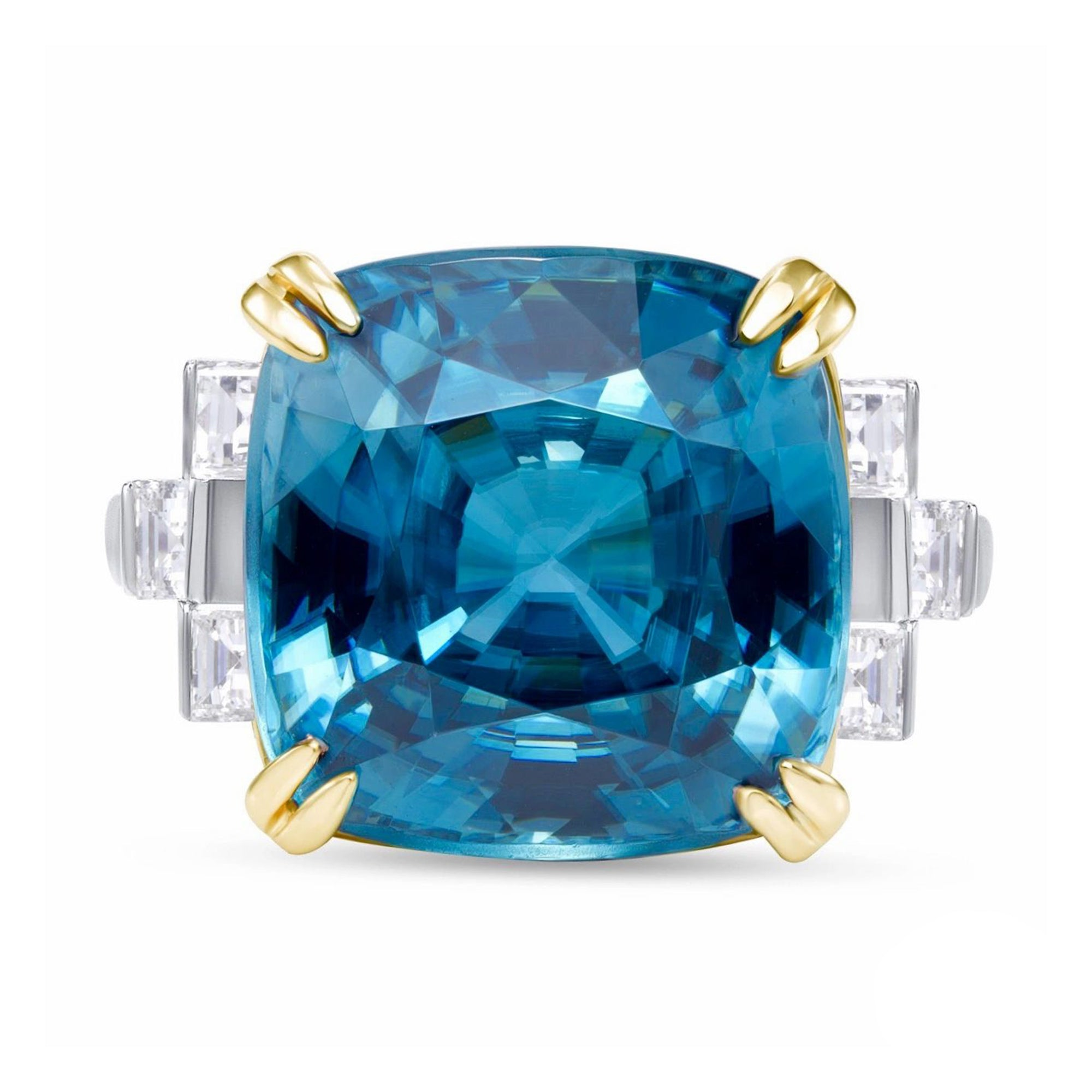 Blue Zircon and Diamond, 18k White and Rose Gold Ring - Talisman Collection Fine Jewelers