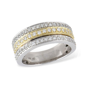 Diamond Two-Tone Gold Triple Stack Band